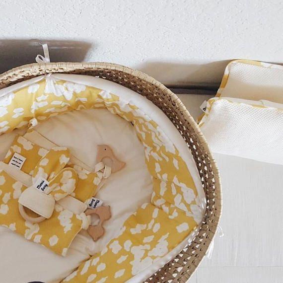 bassinet baby wicker vintage round bassinet moses cream yellow white flowers organic