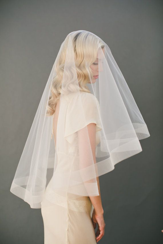 Wedding Veil Fingertip Length Bridal Veil Cut Edge with Blusher