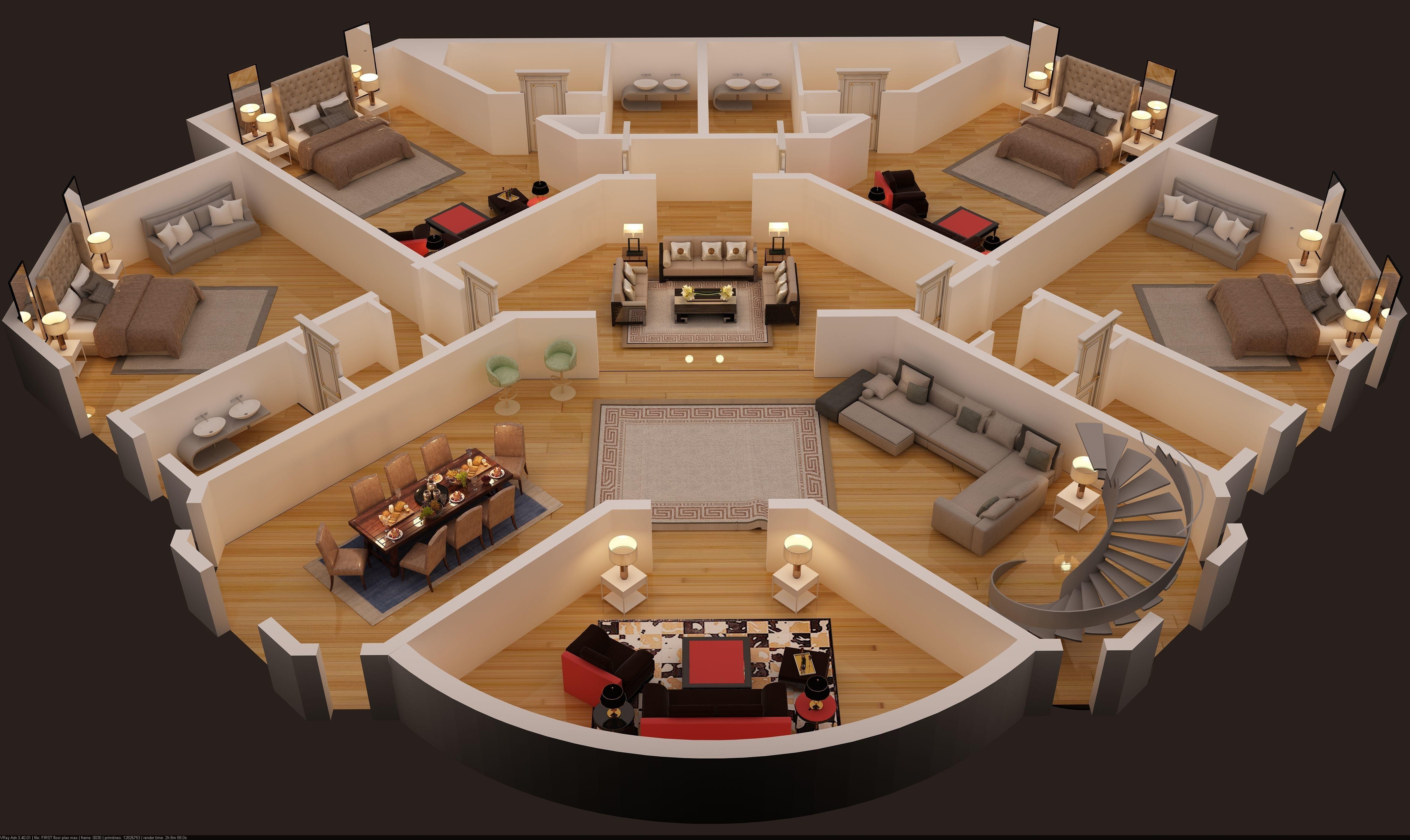 3d floor plan of first floor luxury house | CGTrader ...