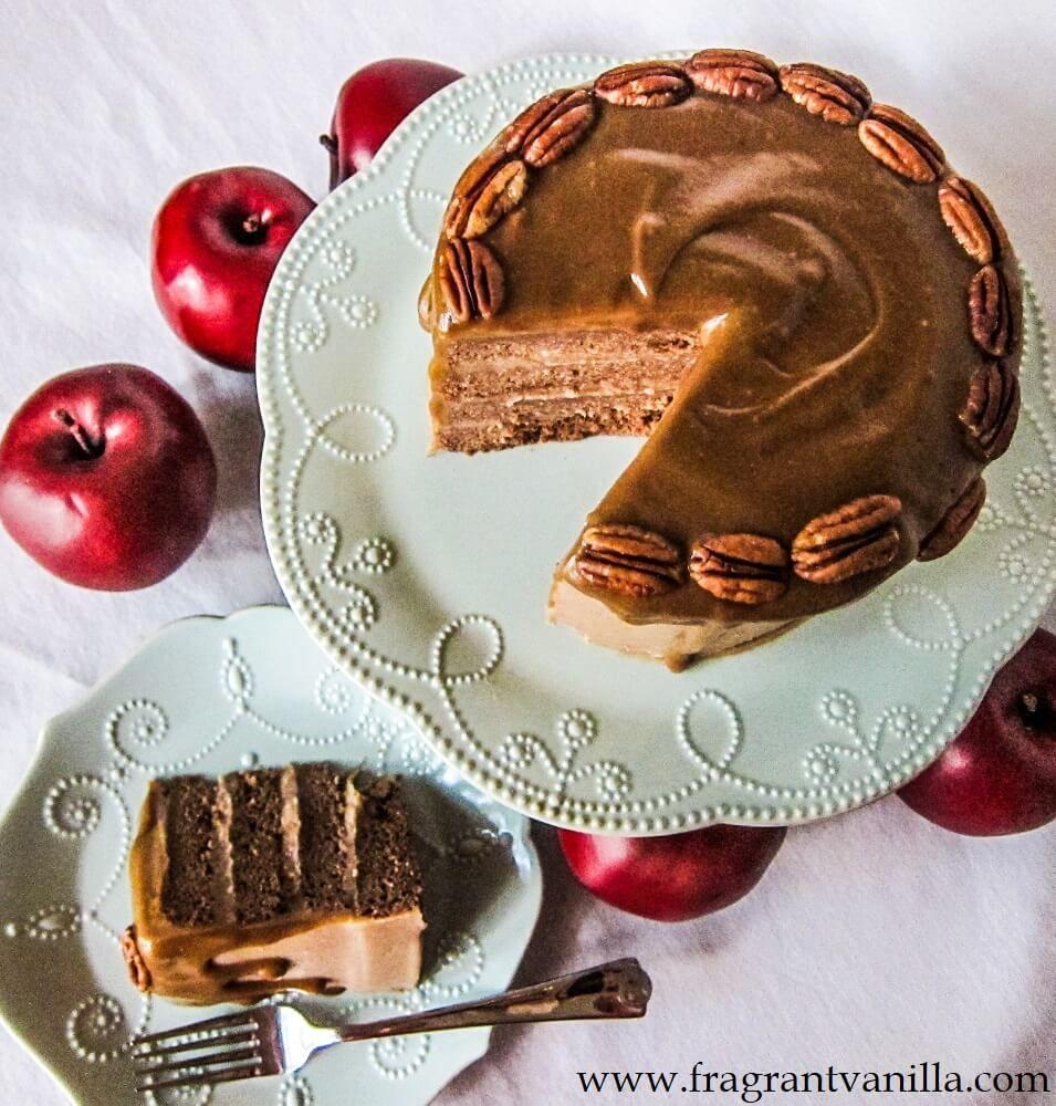 Vegan Apple Spice Cake with Caramel Frosting from Fragrant Vanilla Cake #vegan #fragrantvanillacake