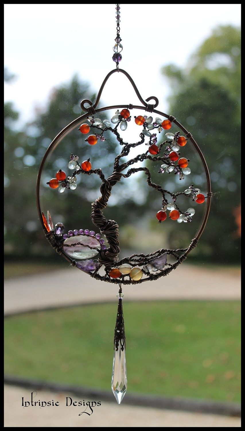 Gemstone and wire bonsai tree of life by