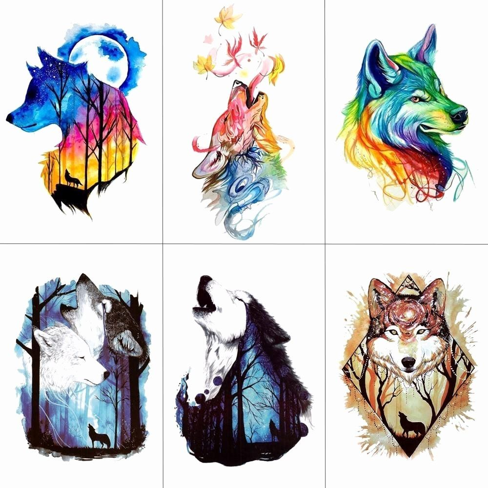 Tattoo Removal Pittsburgh Fresh Tcool Watercolor Wolf Tiger Temporary Tattoos Waterproof Women Fake K Watercolor Wolf Tattoo Wolf Tattoo Design Watercolor Wolf