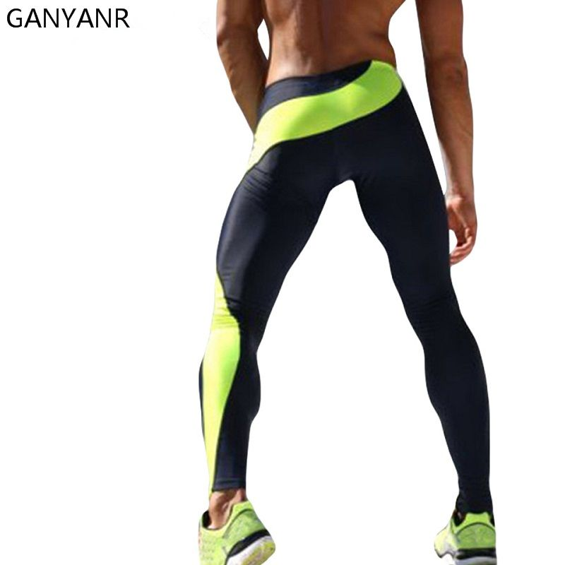 Ganyanr Brand Running Tights Men Skins Compression Fitness Crossfit Training Gym Legging Sports Jogging Long Yoga Athletic Pants Celana Celana Panjang Olahraga
