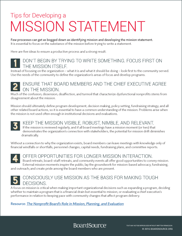 Tips For Developing A Mission Statement Boardsource Mission Statement Template Mission Statement Nonprofit Startup