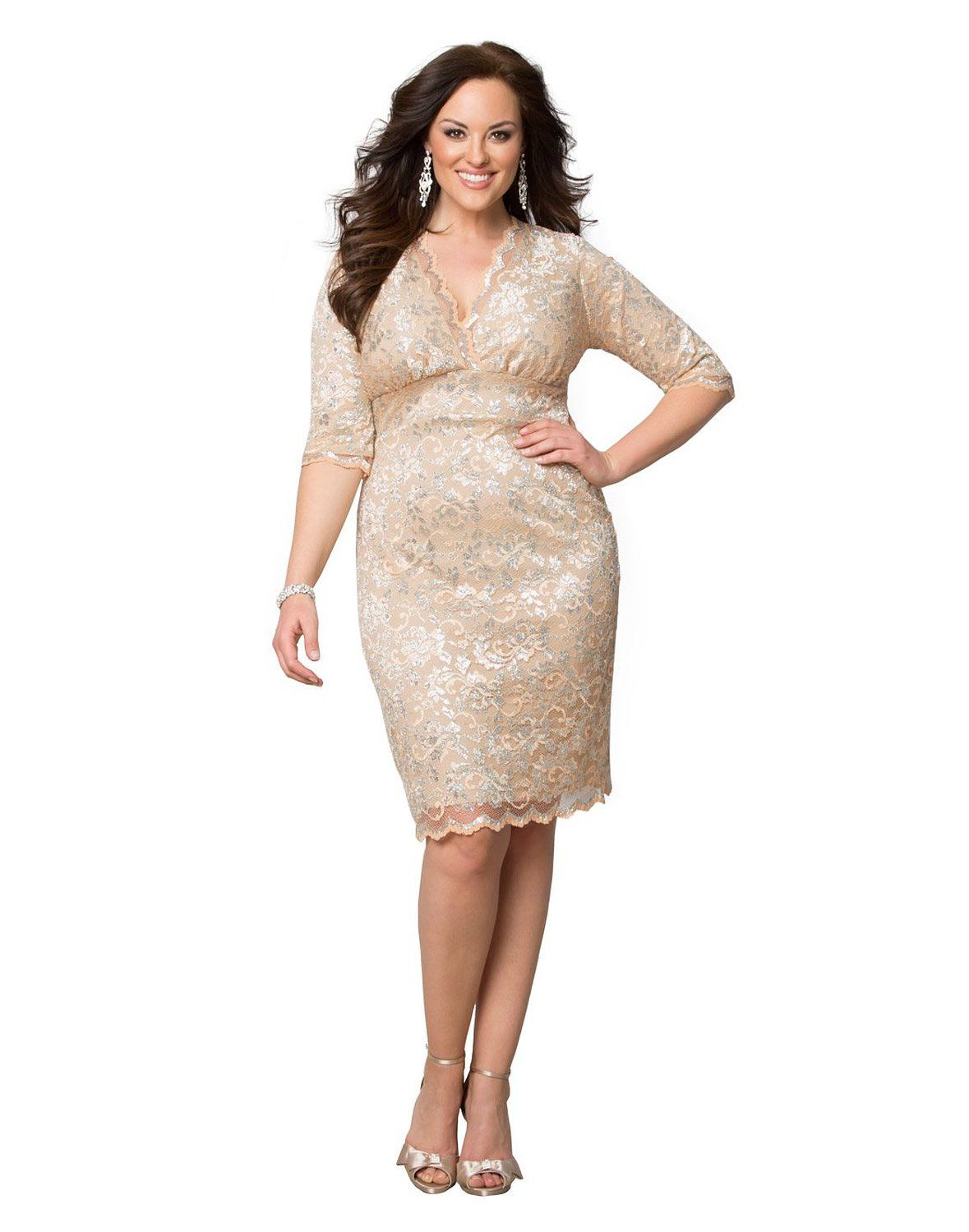 Kiyonna Women\'s Plus Size Limited Edition Glistening Lace Dress at ...