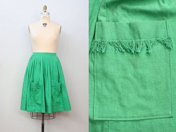 1960s skirt / HUGE POCKETS Cotton Skirt / by friendlyfoxvintage