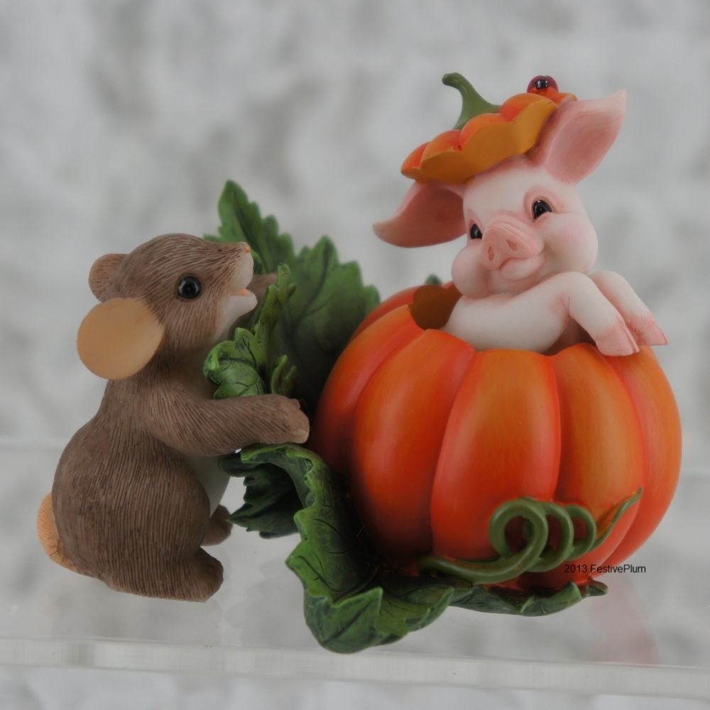 NIB 85_115 Charming Tails Halloween Pig A Boo I See You Mouse