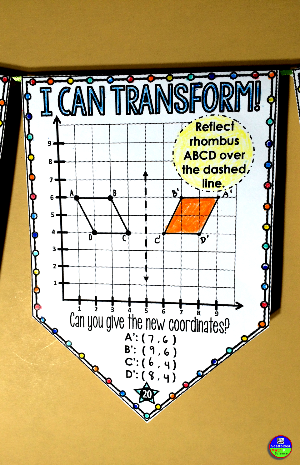 Geometric Transformations Math Pennant Activity - Quadrant 1 only ...