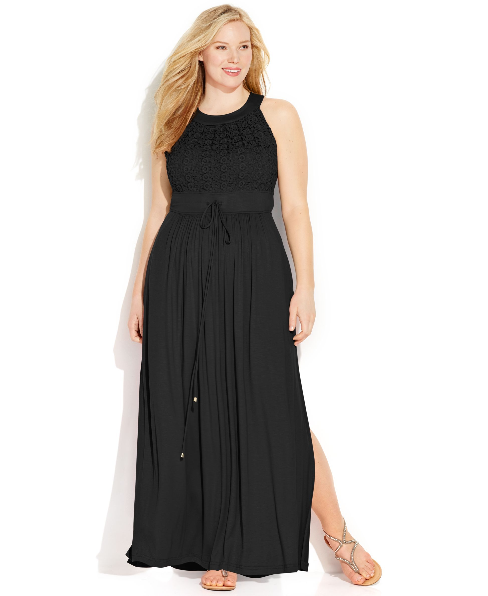 3e235809b8 Calvin Klein Plus Size Lace Halter Maxi Dress   Products