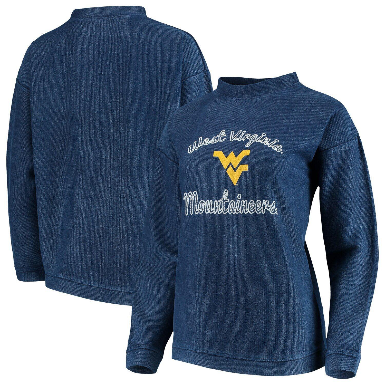 Women's Concepts Sport Charcoal West Virginia Mountaineers Jetway Mineral Wash Corduroy Crew Neck Sweatshirt #westvirginia
