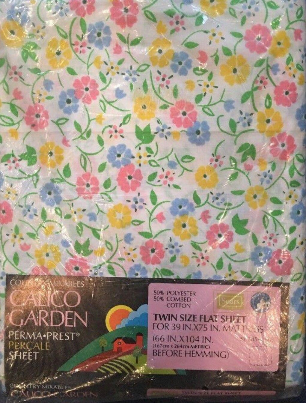 Vintage Sears Country Mixables Perma Prest Bed Sheets. U0027Calico Gardenu0027  Pattern Mod Floral