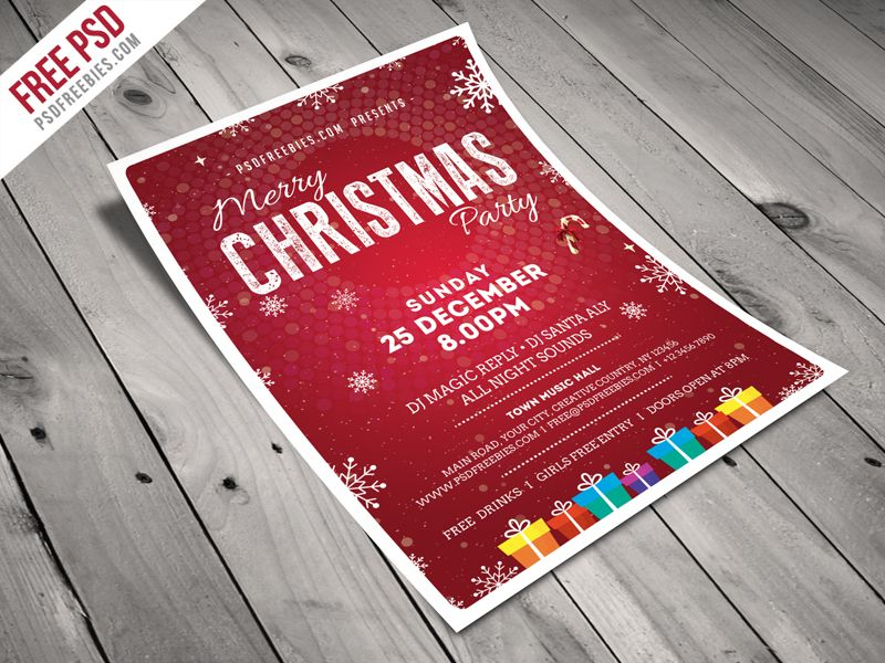 Christmas Party Flyer Template Free Psd Party Flyer Minimal