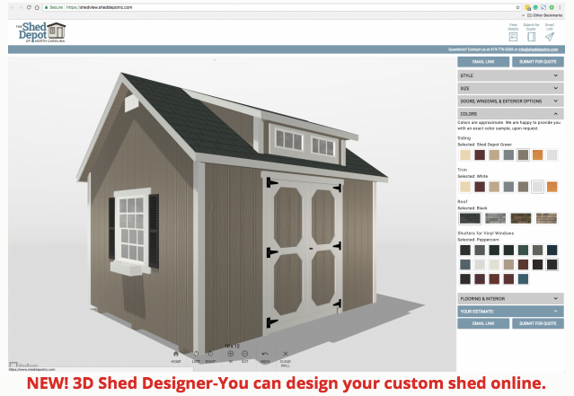 New 3d Shed Designer You Can Design Your Custom Shed Online Https Shedview Sheddepotnc Com Custom Sheds Shed Building Plans Shed