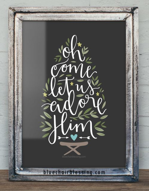 Oh Come Let Us Adore Him (hand lettered) 8 by 10 art print