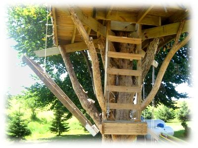 Treehouse with  simple drawbridge design also add ons to my house rh pinterest