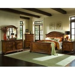 Quick Ship Addison Chestnut Bedroom Set   King   6 Pc Find Best Prices ,  Lauren Wells The Addison Collection By Lauren Wells Features Chevron  Patterned Pine ...