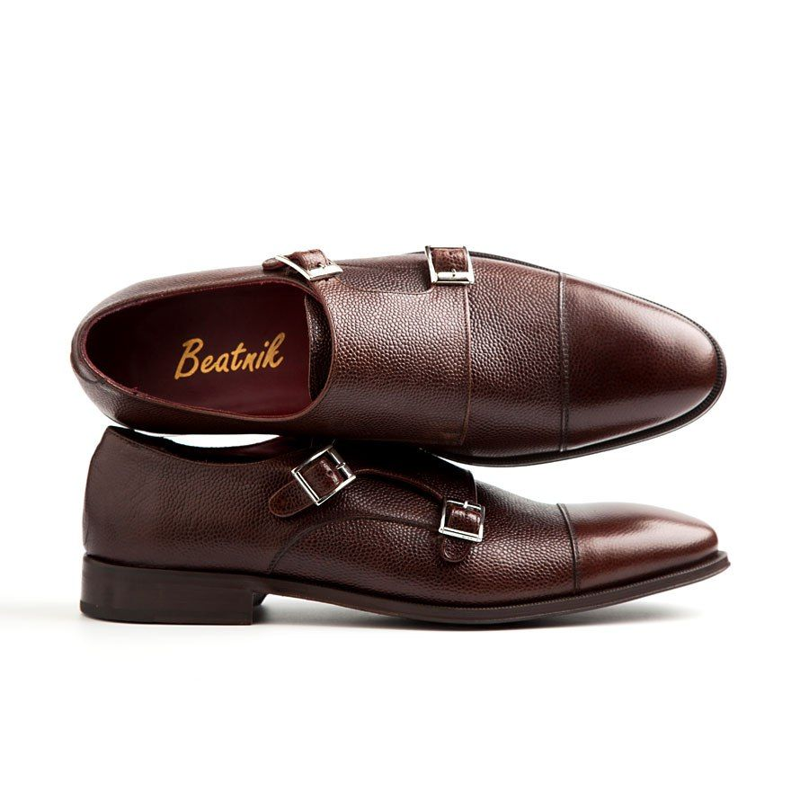 LAMANTIA | beatnikshoes.com  -  Monk Strap shoes handmade in Spain. Made of genuine brown leather. Total comfort.  Worldwide shipping by UPS. € 159.