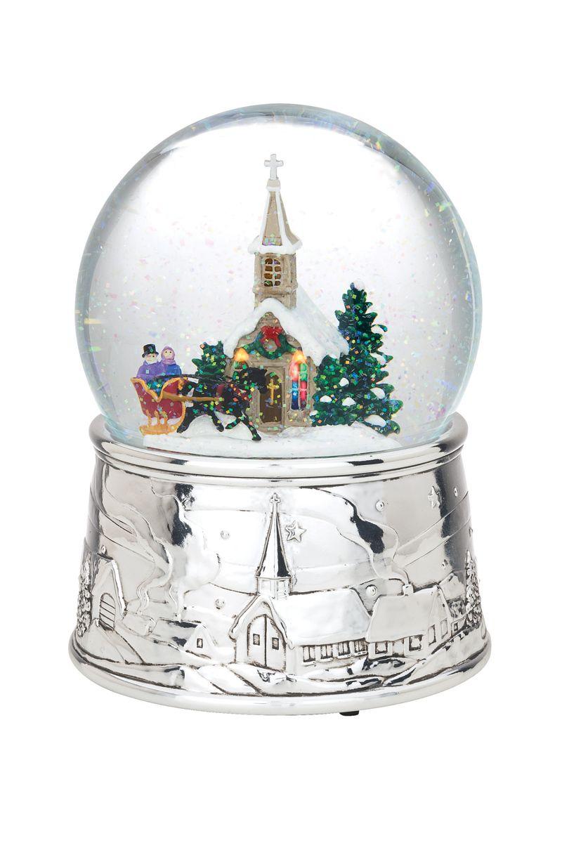 "Winter Church Musical Snowglobe 2018 Water Globe 6/"" Snow Globe Xmas Holiday"