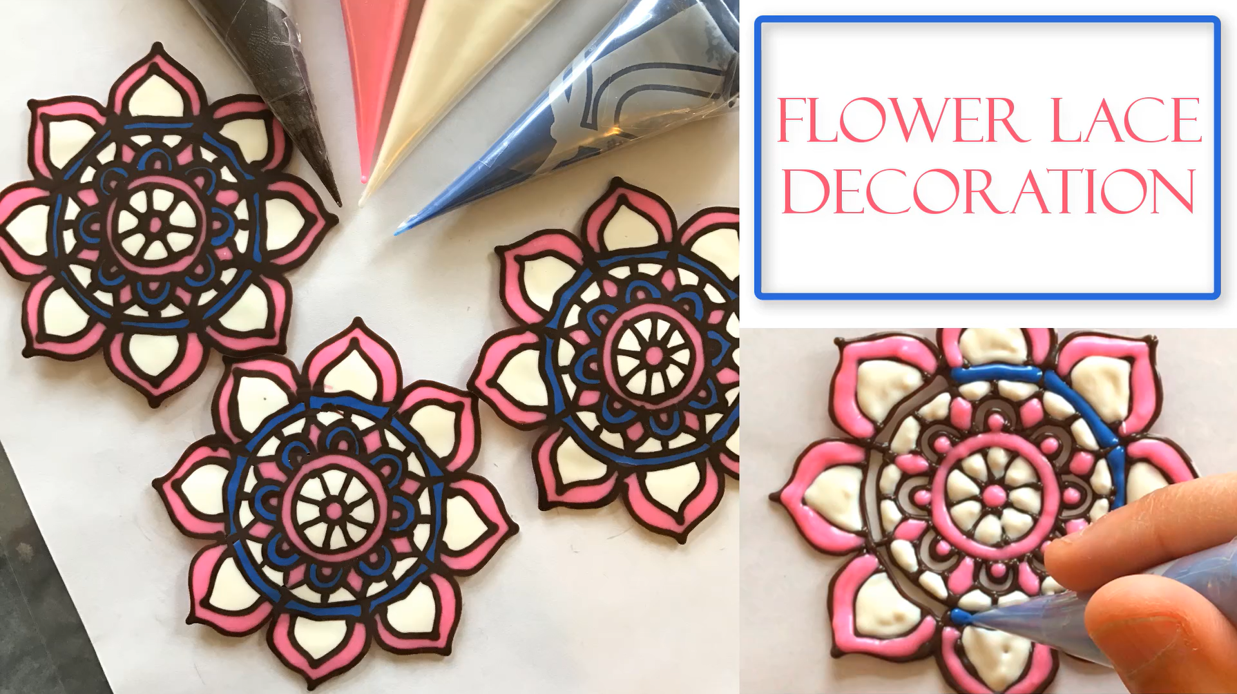 How To Make Chocolate Lace Flower Decorations Using Wilton Candy Melts I Made These A Template Which Then Traced With