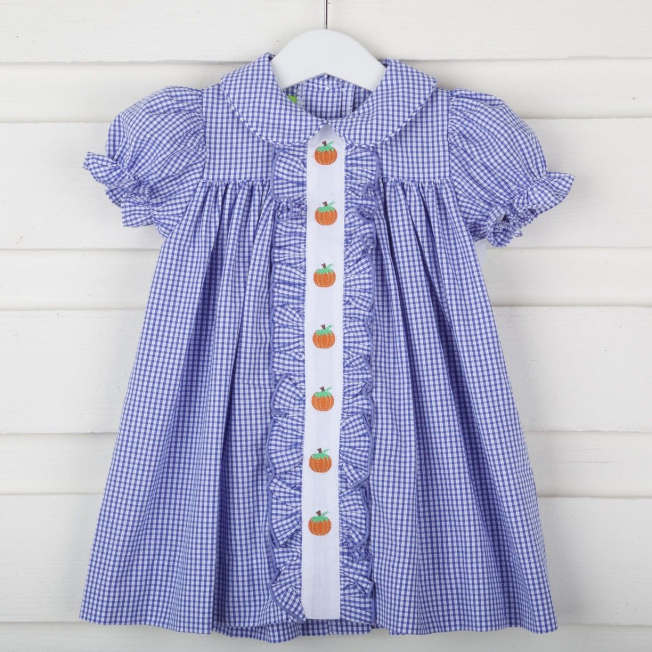 Pumpkin Center Embroidered Dress Royal Blue Gingham