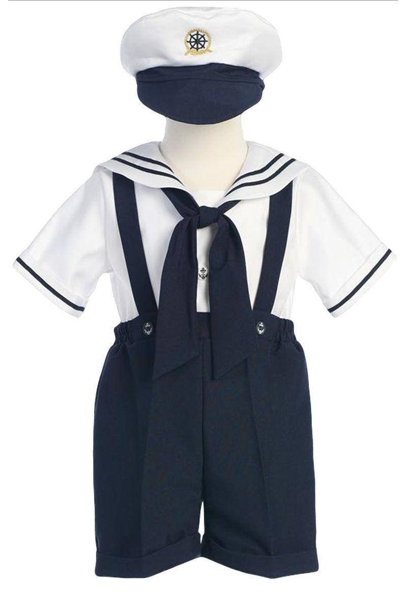 d9d62a43d Navy Blue   White Boys Sailor Suspender Shorts Set w. Hat 6m-4T ...