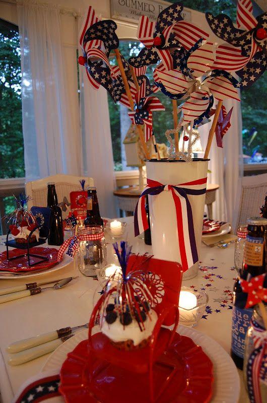 A Patriotic Celebration Table Setting Blue Table Settings 4th