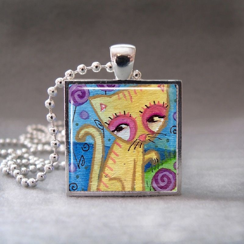 Cute Cat Kitten, Altered Art Glass Dome Photo Pendant Necklace, no. 052-14