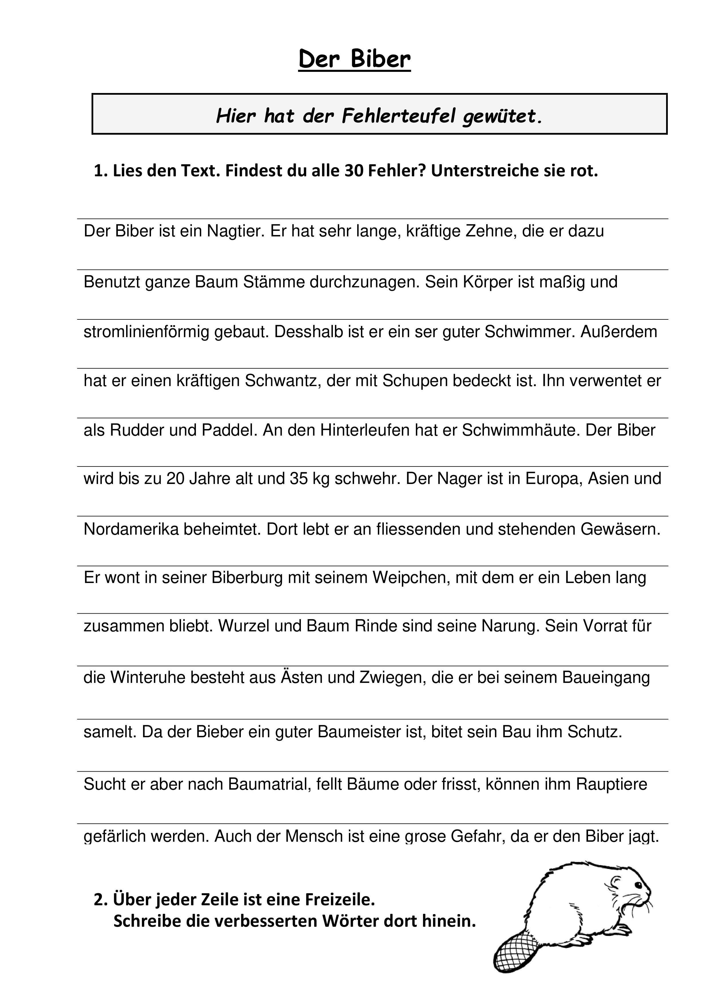 Fehlertext Biber   Daf, Kurze texte, Unterrichtsmaterial
