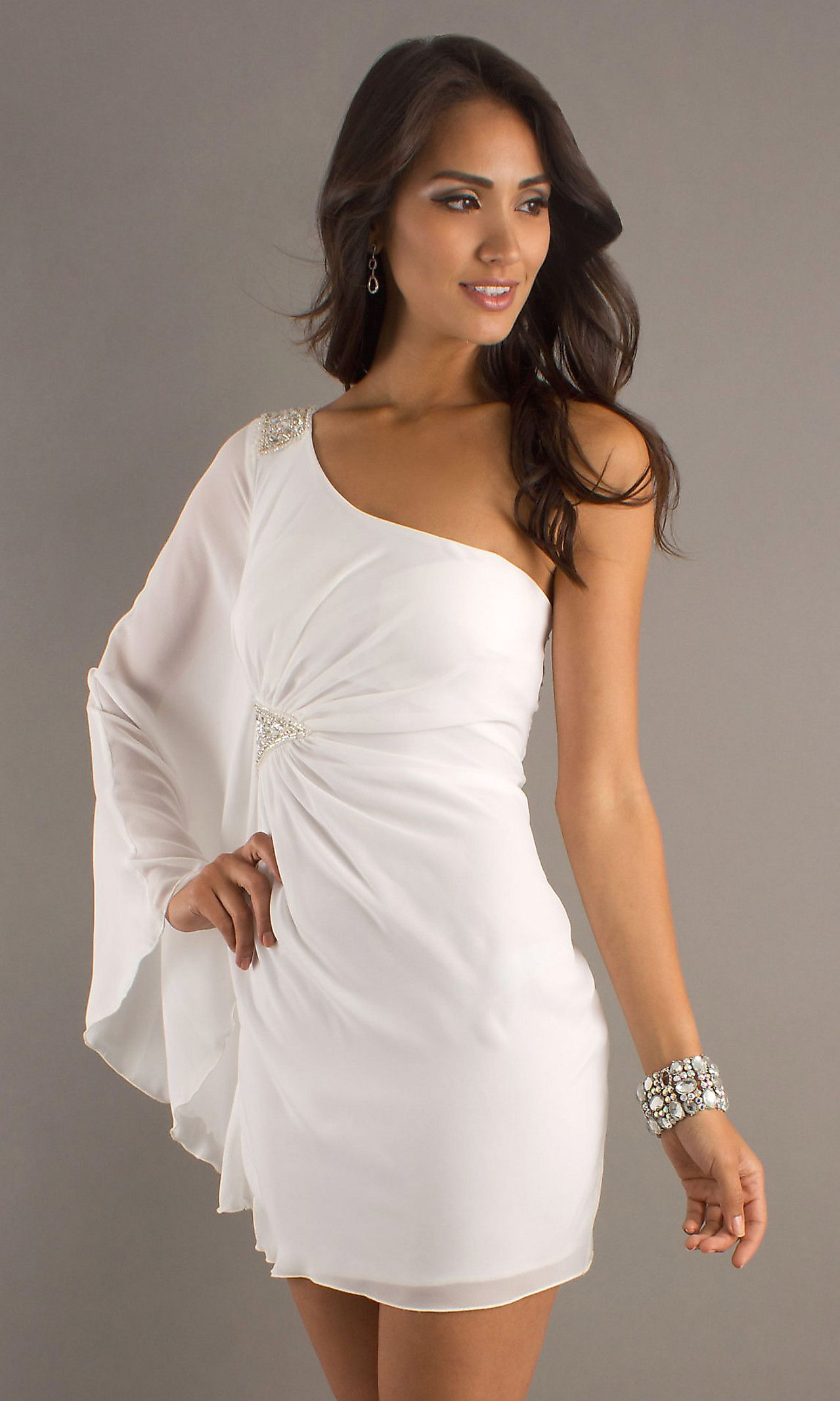 64eb2b02632 Short One Sleeve Dress MY-5078WG1N | Wedding | One sleeve dress ...