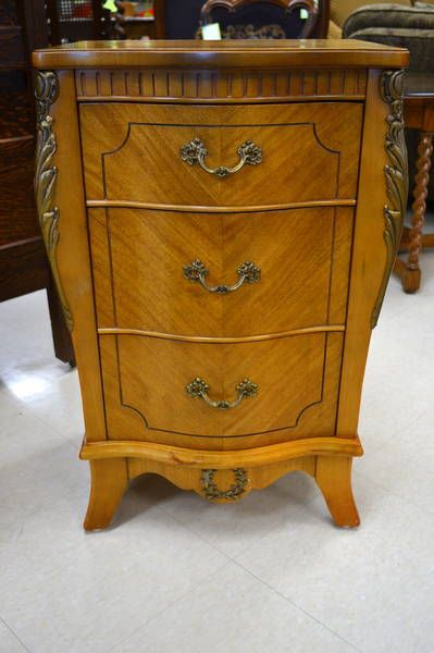 kitchener home furniture satinwood night table with 3 drawers ornate leaf and floral accents made by anthes baetz 7672