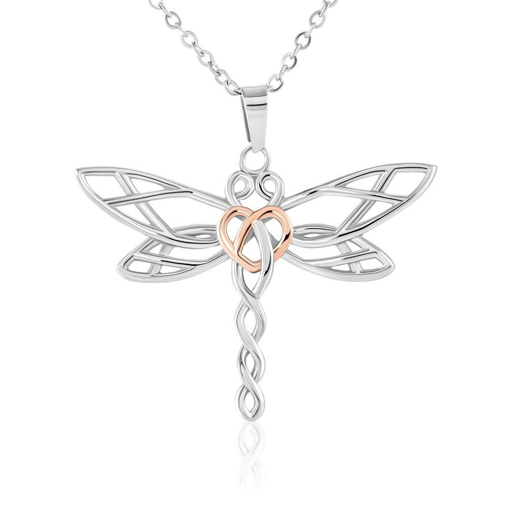 Description Imagine the look of delight on your loved one's face when she sees this artistic Dragonfly Necklace! Dragonflies are amazing creatures. They are strong, swift, and can adapt to changes effortlessly. Give this empowering and elegant necklace to your loved one, or yourself, to be reminded of the amazing shared qualities of the Dragonfly. This beautifully styled Dragonfly pendant is crafted from polished stainless steel and finished with a rose gold heart. A lovely piece that is sure to