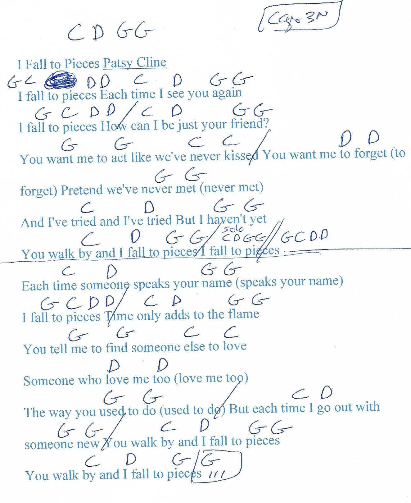 I Fall To Pieces Patsy Cline Guitar Chord Chart Capo 3rd Fret Chord Chart Guitar Chord Chart I Fall To Pieces