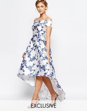 Chi Chi London Extreme High Low Printed Midi Dress