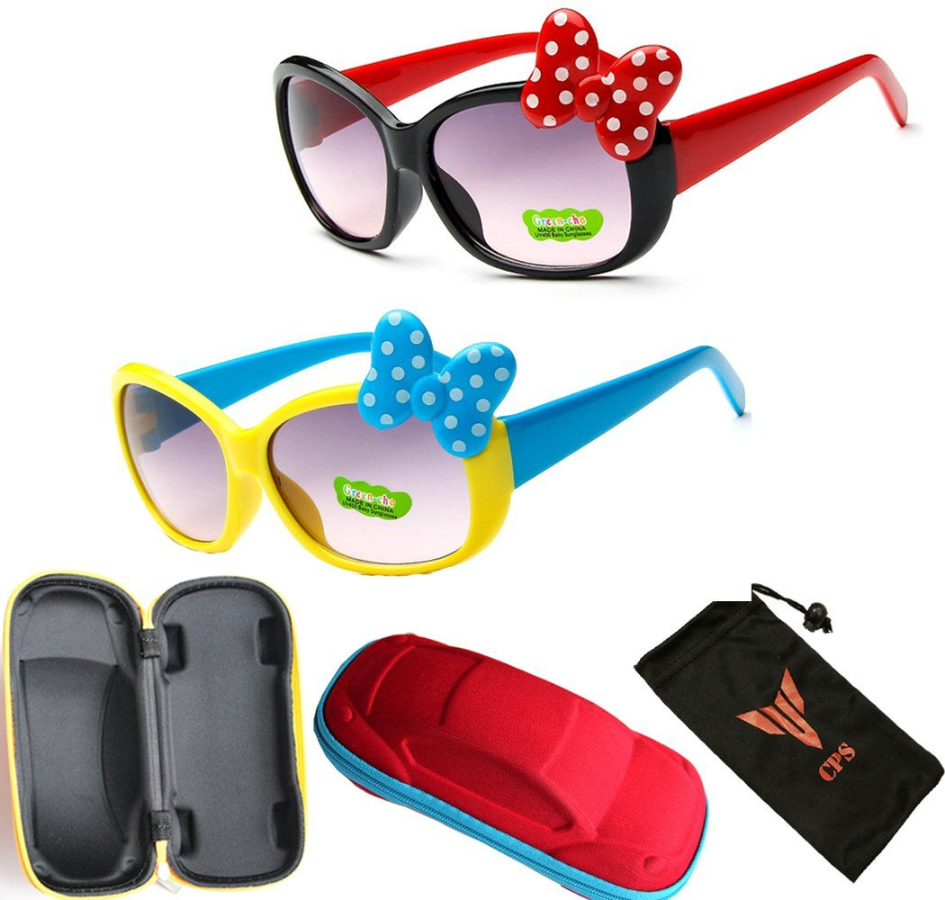Kids Children Youth Cute Colored Angry Bird Hello Kitty & Mouse Ears Flip Up Sunglasses Black Lens Mickey Minnie Bow With Car Storage Carrying Case