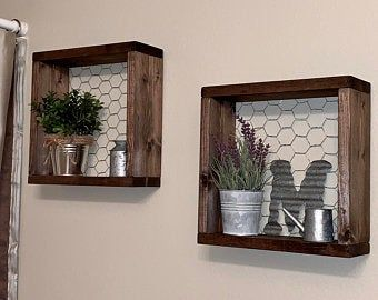 Photo of Farmhouse Style Chicken Wire Shelf, Gallery Wall Decor, Wood & Chicken Wire Shelf, Seasonal Decor Display