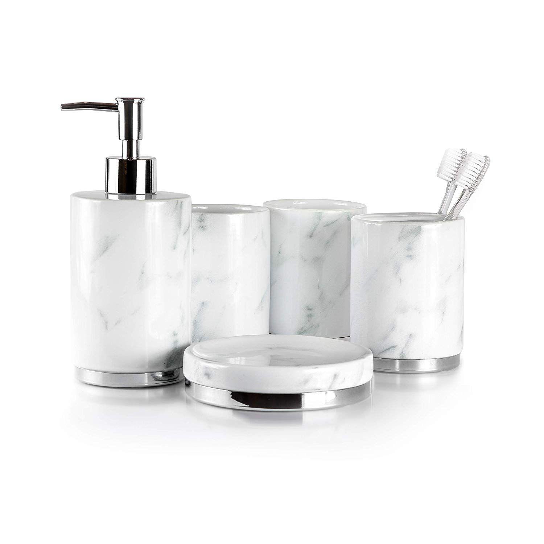 Amazon Com Willow Ivory Bathroom Accessories Set 5 Piece Ceramic Bath Set Toothbrush Holder Bathroom Accessories Sets Bathroom Accessories Soap Dispenser