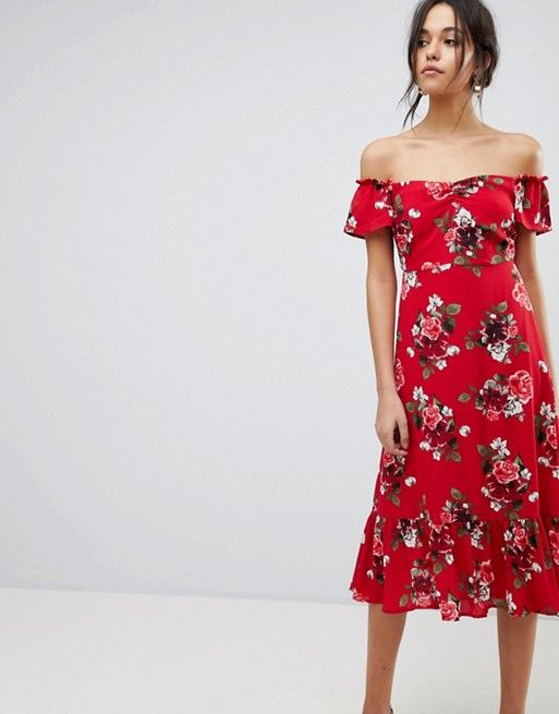 Cheap Browse Floral Off Shoulder Midi Dress With Ruffle Hem - Multi Y.A.S Clearance Popular Clearance Cheapest Price fRVDXAEZ