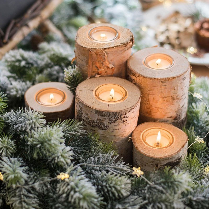 Rustic Style Tree Trunk Tealight Candle Holder Cylindrical Birch Wood Votive Hol Christmas Decorations Rustic Christmas Table Centerpieces Rustic Holiday Decor