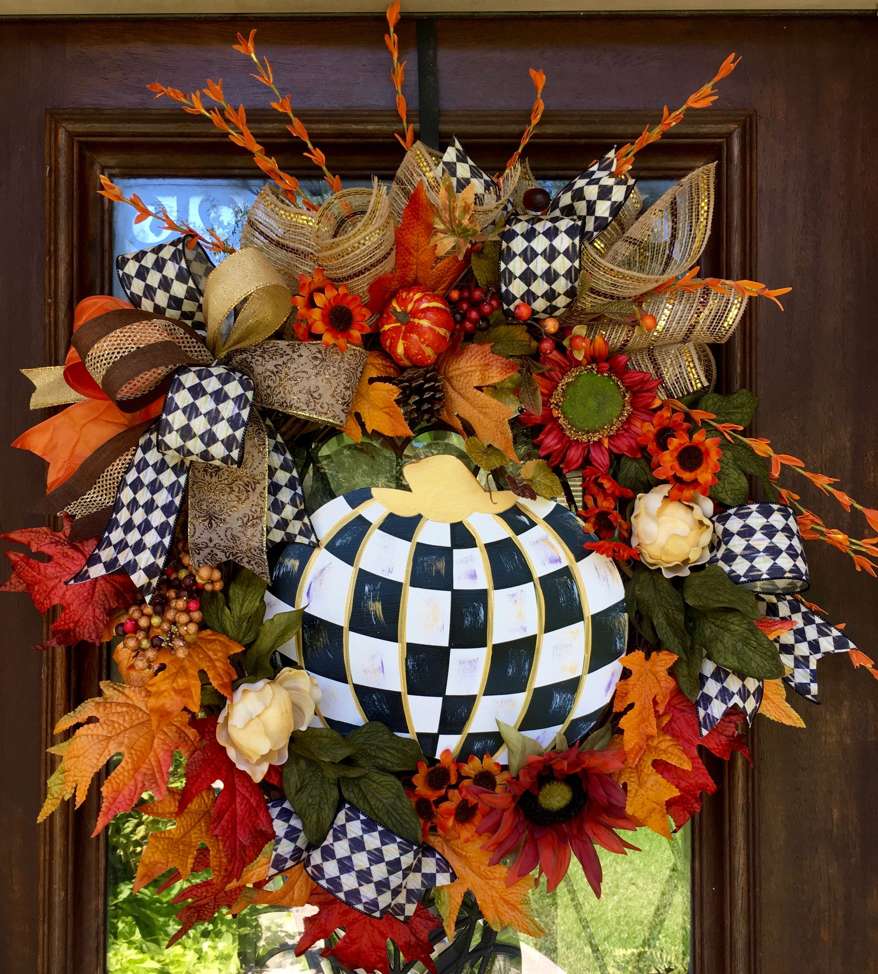 Mackenzie Childs Themed Wreath Loaded With Accent Florals Perfect For
