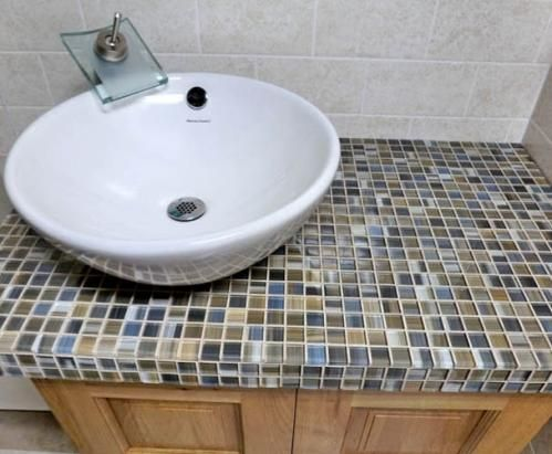Home Depot Vessel Sink With Tile Vanity Top Salvage Existing