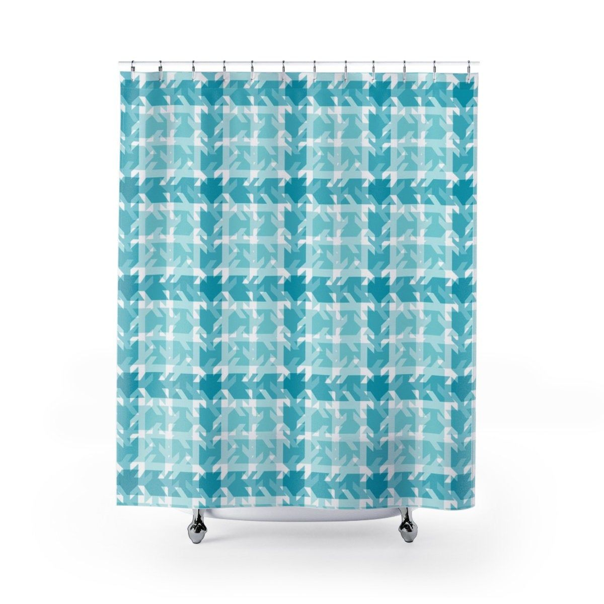 Shower Curtains Turquoise Teal Blue Stamped Patchwork Plaid Girls