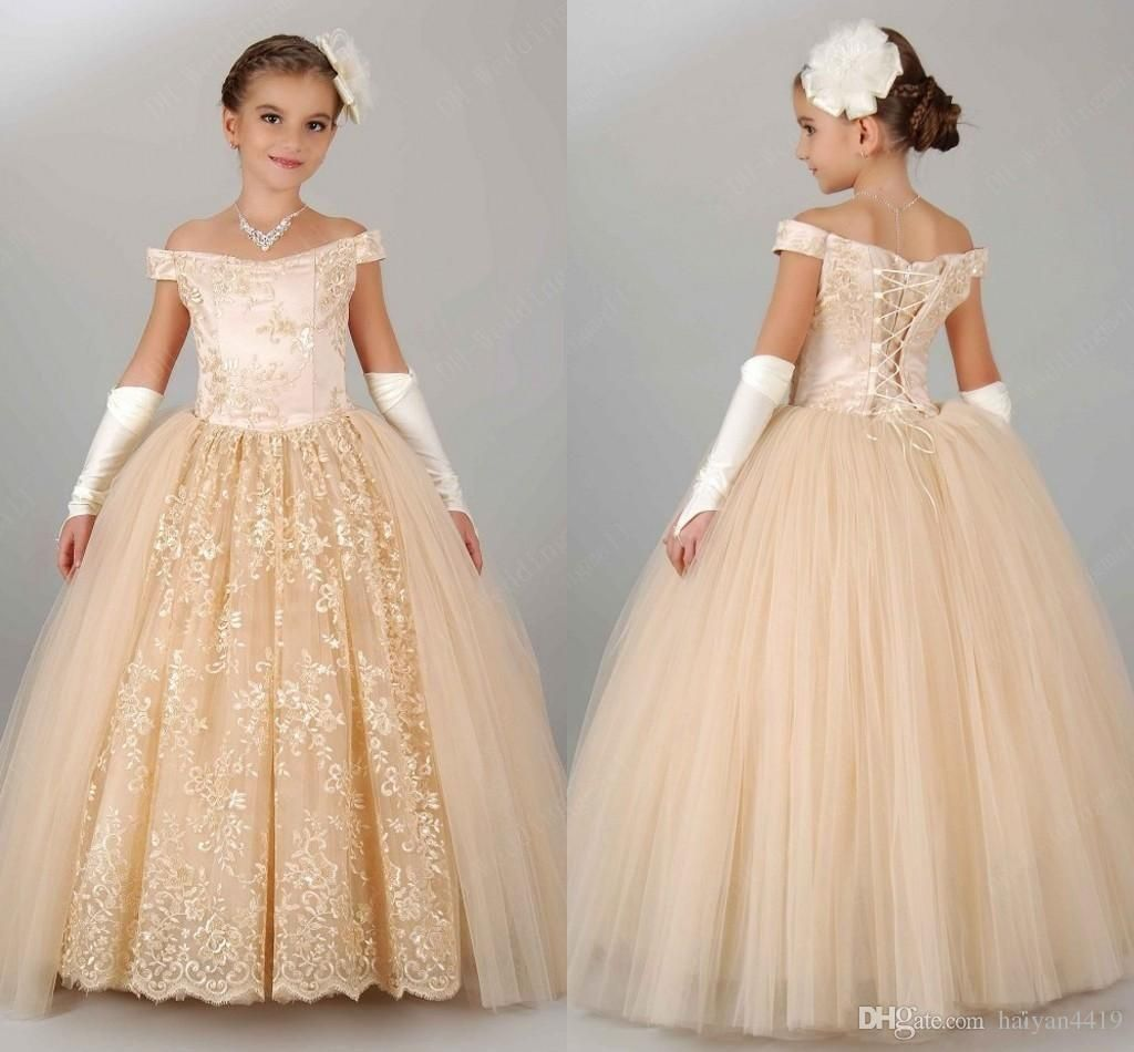 Cheap flower girls dresses for weddings champagne tulle appliques cheap flower girls dresses for weddings champagne tulle appliques tea length a line girls pageant gowns zipper back customized kids party dress as low as izmirmasajfo