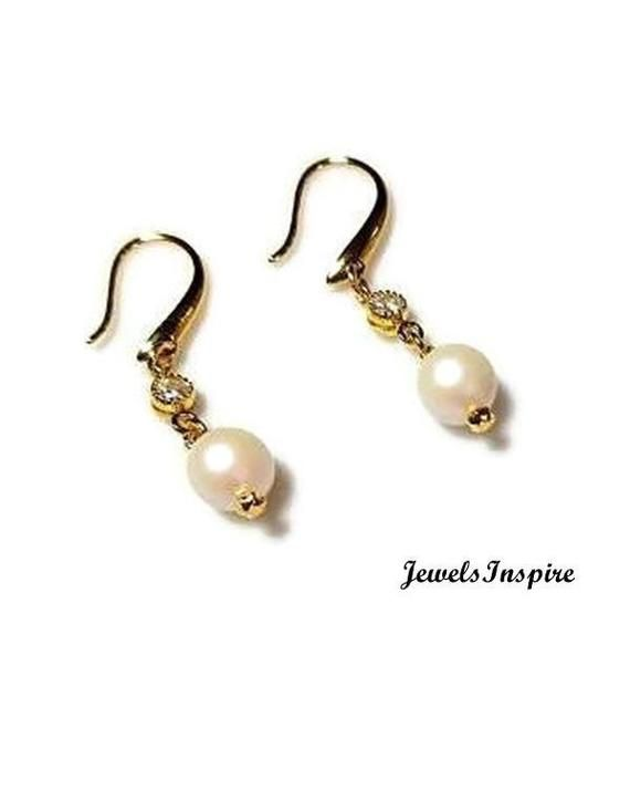 White Swarovski Pearl Drop Earrings with Clear Rhinestones
