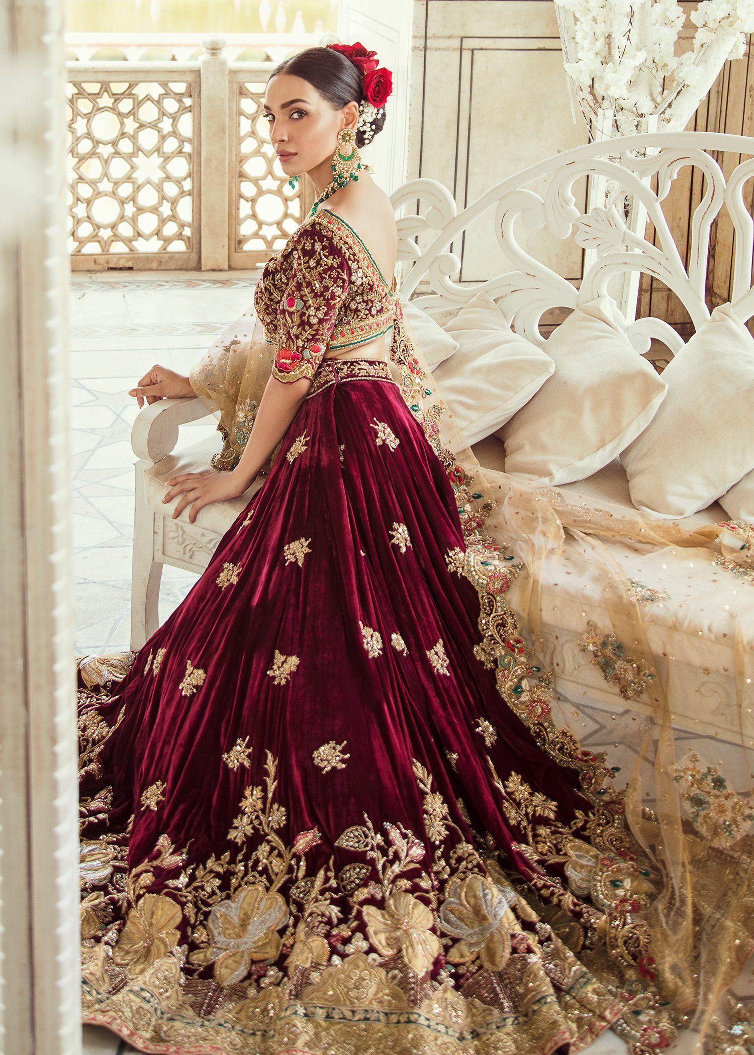 Pakistani Bridal Maroon Velvet Lehnga Dress J5101 Bridal Dresses Pakistan Indian Wedding Dress Red Bridal Dress [ 2100 x 1500 Pixel ]