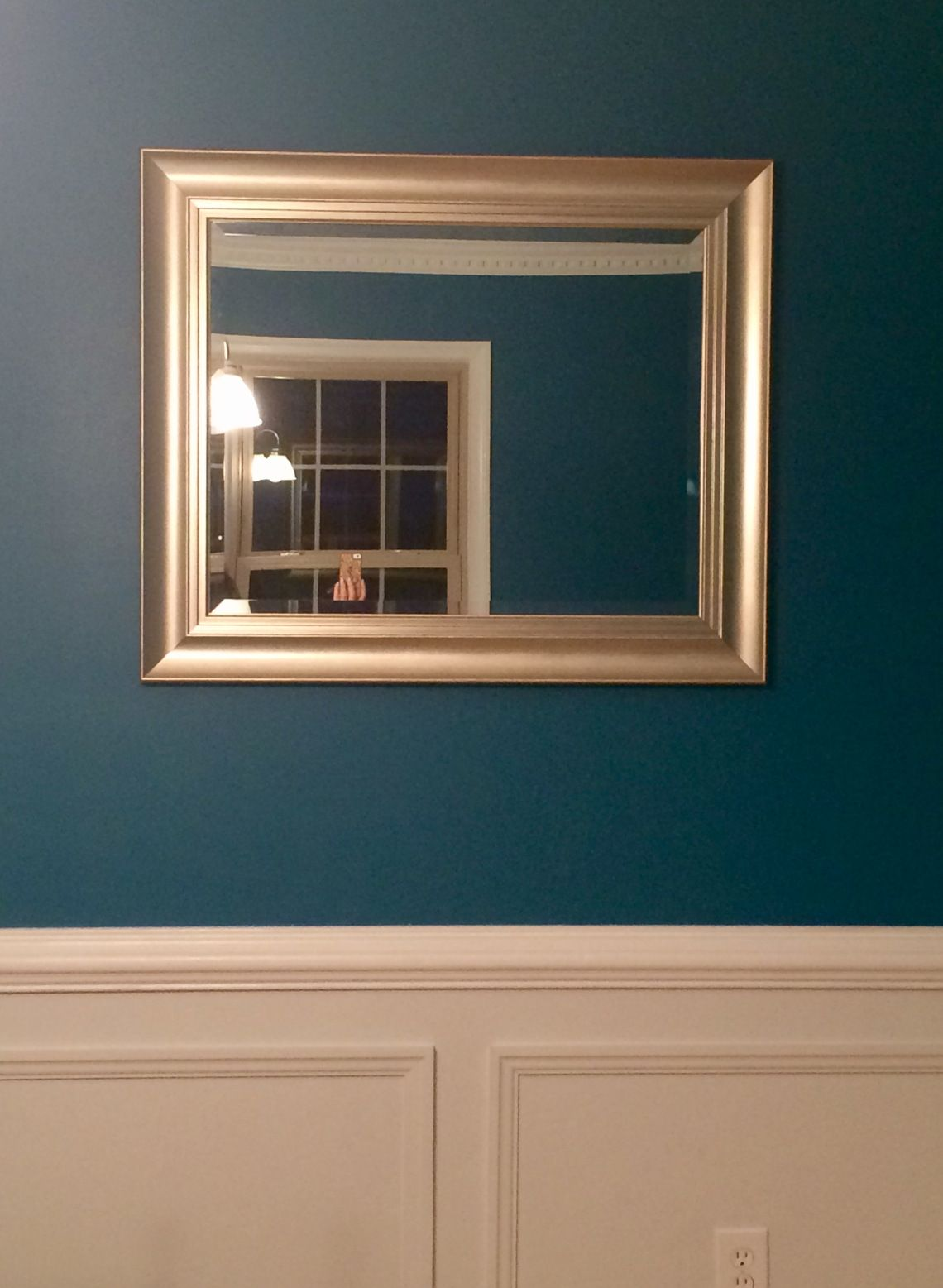 How To Hang A Mirror Or Picture With Two Hooks And Make It Completely Level Without Putting A Million Holes In The Wall Dining Room Renovation Home Mirror