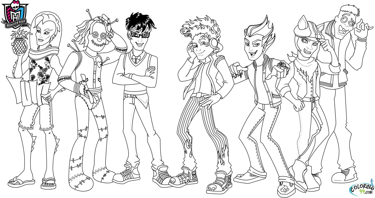 monster high boys coloring pages 2 color monster high