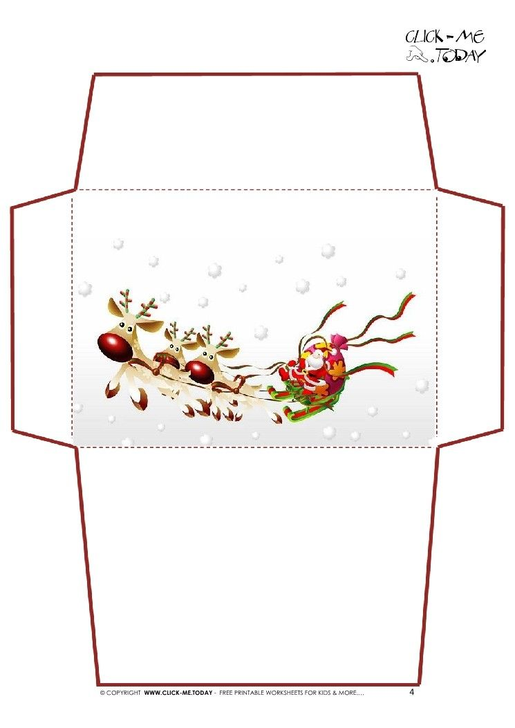 Christmas Letter Envelope Template Letter To Santa Claus Envelope Template Santa Sleigh 4 Ins Christmas Envelope Template Christmas Envelopes Envelope Template