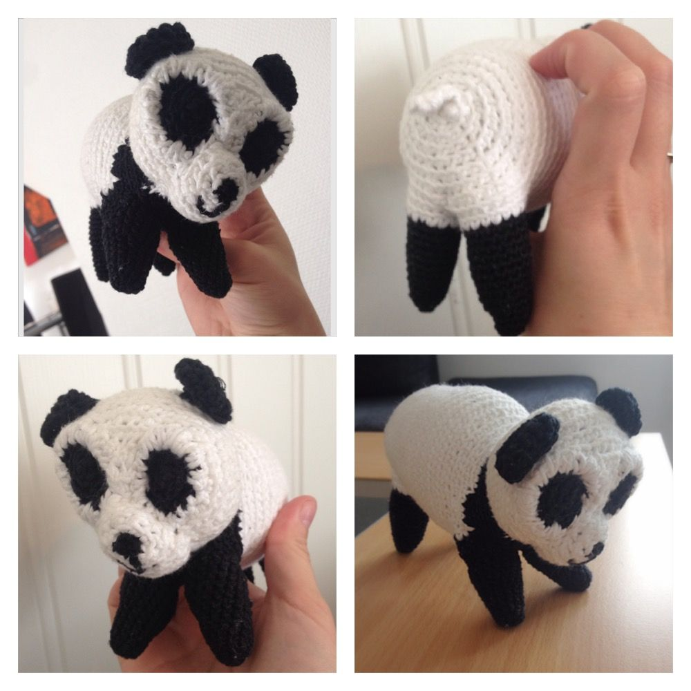 A handmade panda, done with crochet.