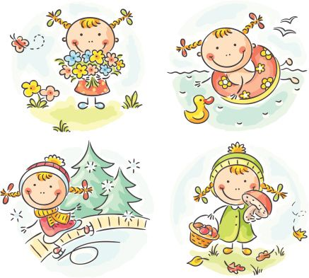 Four girls playing soccer Royalty Free Vector Image