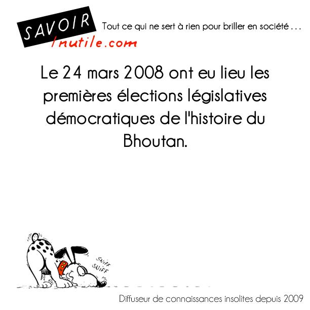 Le 24 mars 2008 ont eu lieu les premières élections législatives démocratiques de l'histoire du Bhoutan.